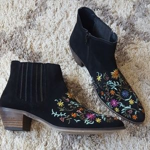 Diba leather embroidered booties